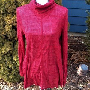 Sno Skins Crinkle Shirt Red Knit Cowl Neck Size L